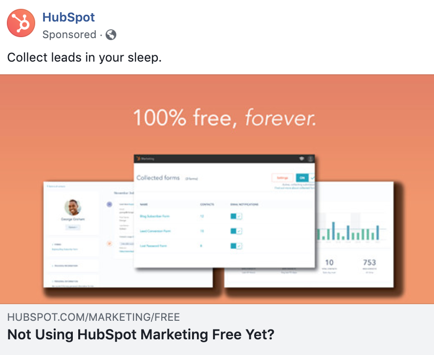 HubSpot Facebook ad - facebook advertising