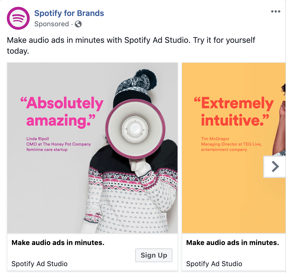 Spotify for Brands Facebook ad - facebook advertising
