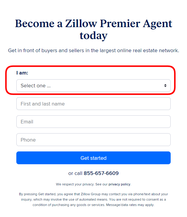 Sign Up Screen for ZPA - how to claim a listing on zillow