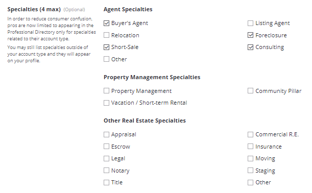 Add Specialities - how to claim a listing on zillow