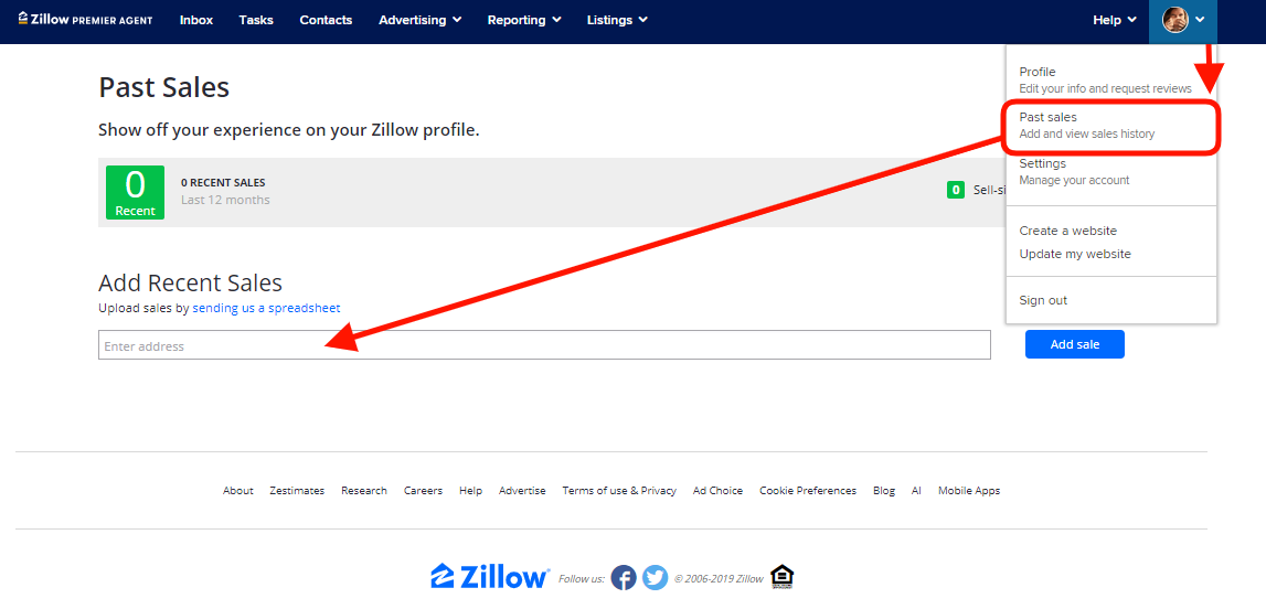 Add Recent Sales - how to claim a listing on zillow