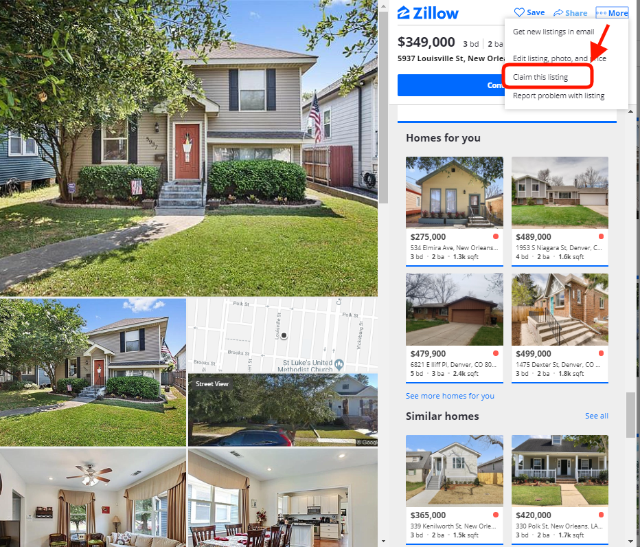 Zillow - how to claim a listing on zillow