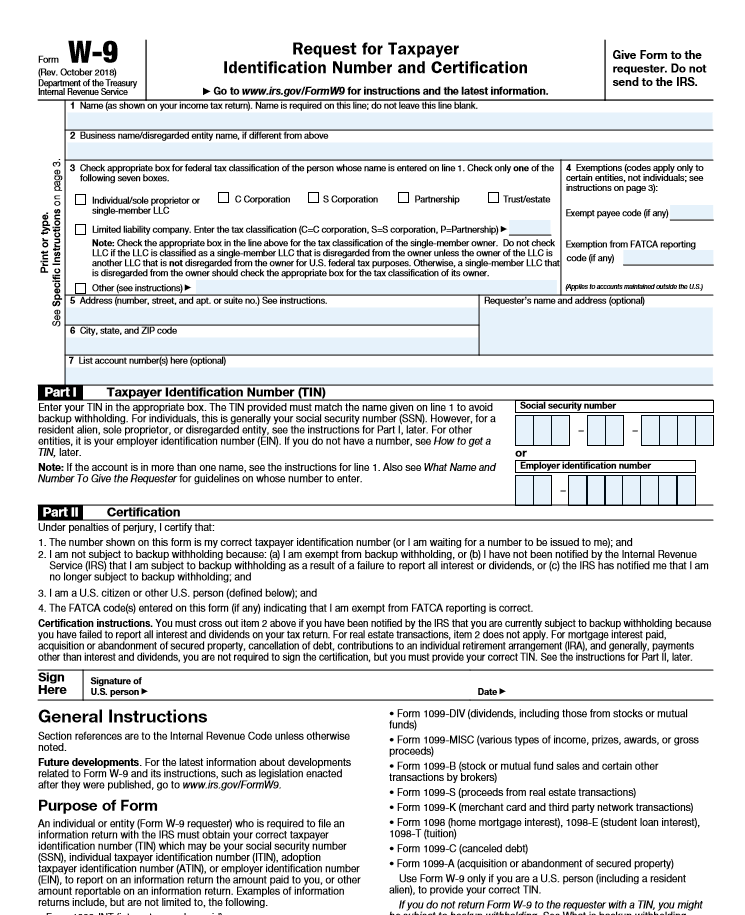 W-9 Form - paying independent contractors