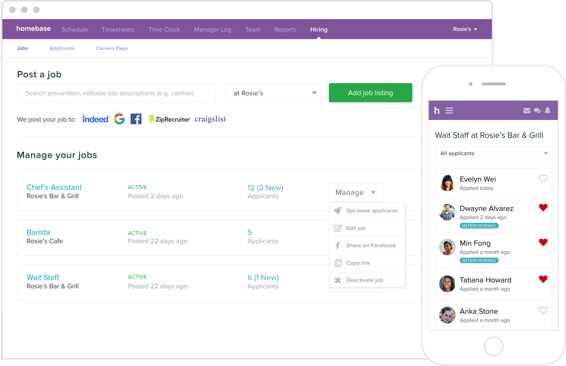 homebase applicant tracking system dashboard