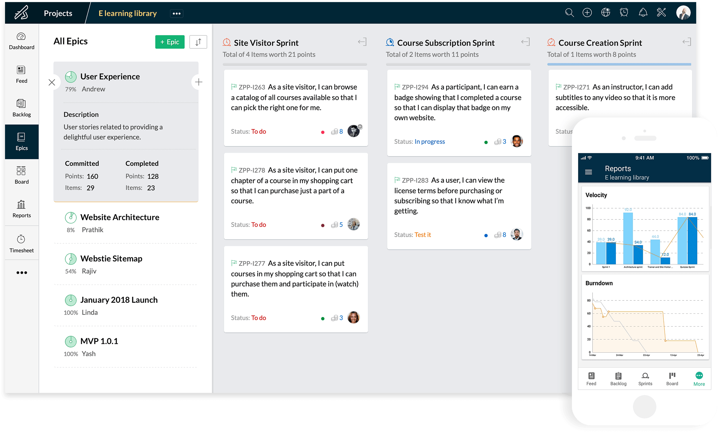 zoho sprints scrum board example
