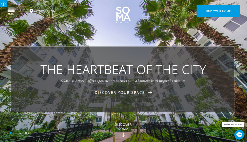 Soma at Brickell - web design inspiration