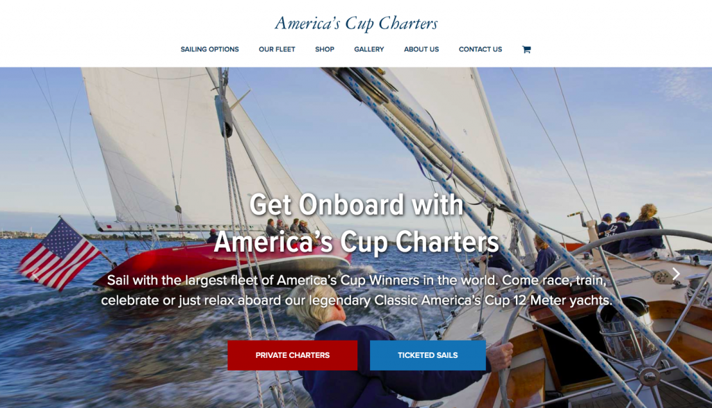 America's Cup Charters - web design inspiration