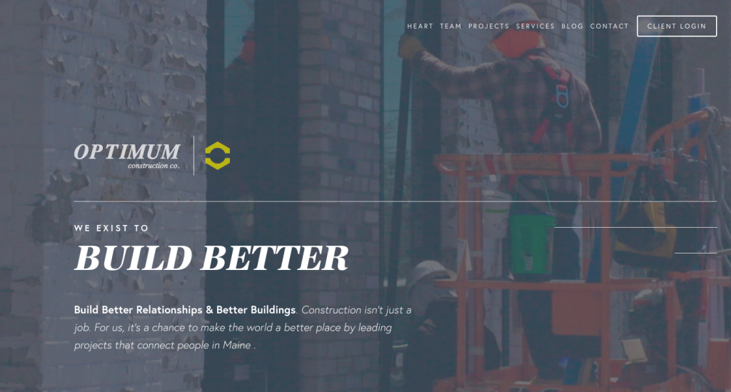 Optimum Construction Co. - web design inspiration