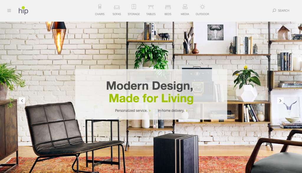 Hip Furniture - web design inspiration