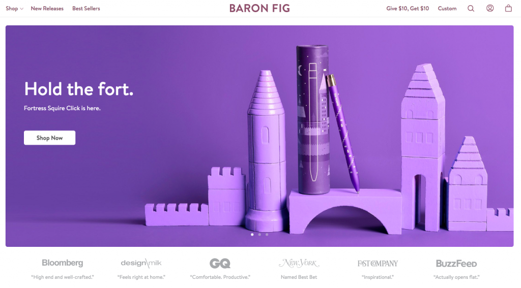 Baron Fig - web design inspiration