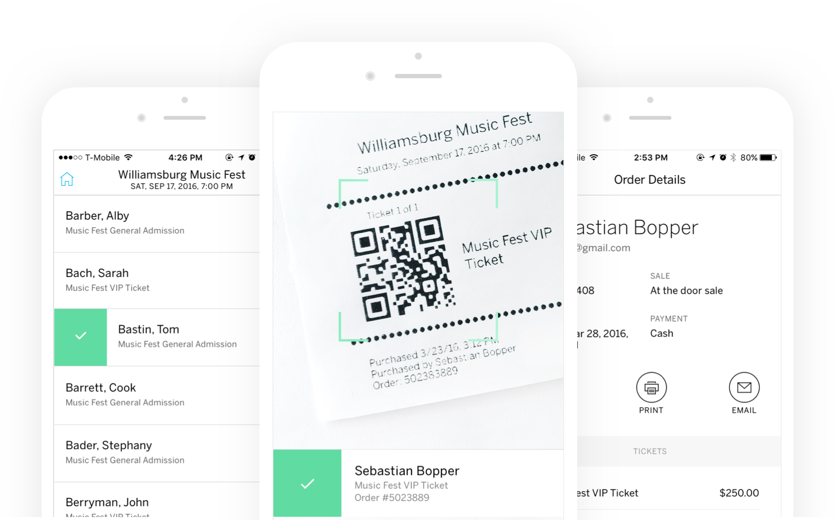 mockup of eventbrite ticketing features