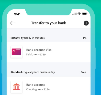mobile mockup of a paypal transfer