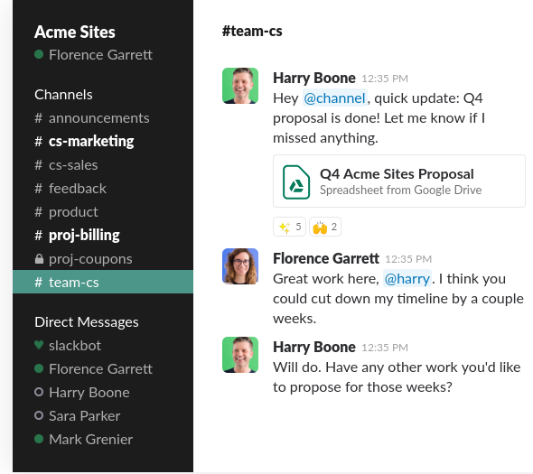 Screenshot of the Slack Communication Interface