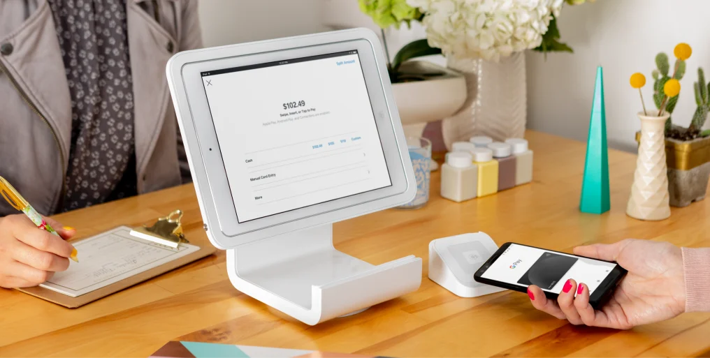 Square stand for contactless and chip read cards
