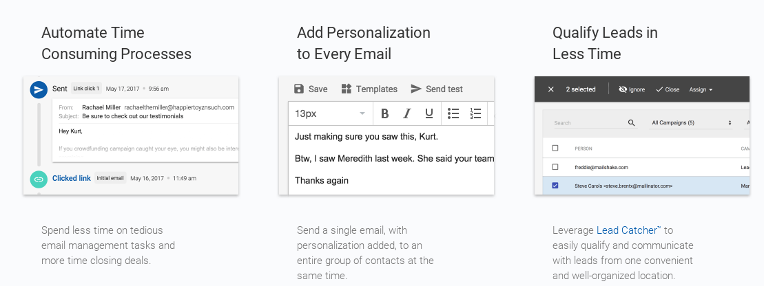 Screenshot of Mailshake's email template features