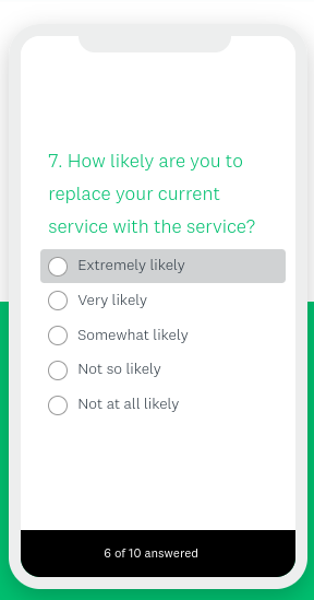 mockup of SurveyMonkey survey on a mobile device