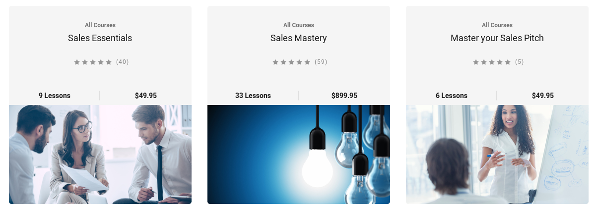 Screenshot of popular SalesPro university courses