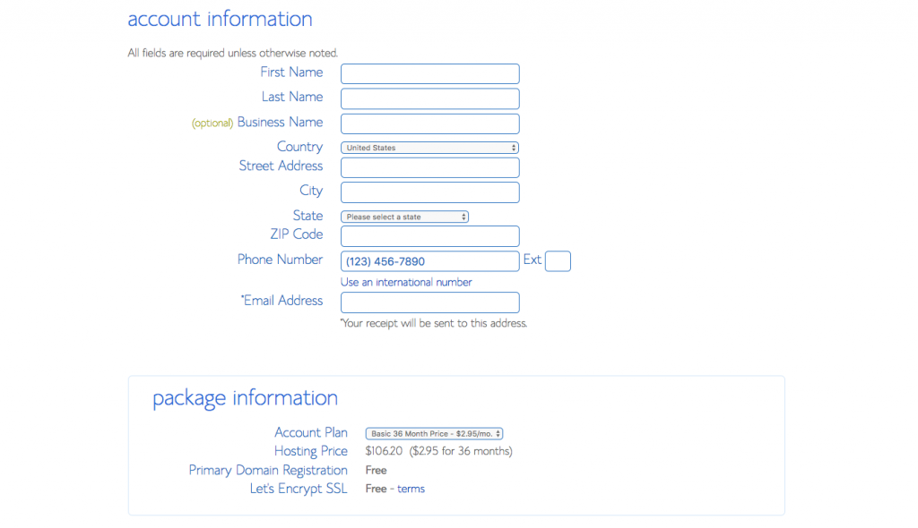 Bluehost registration page