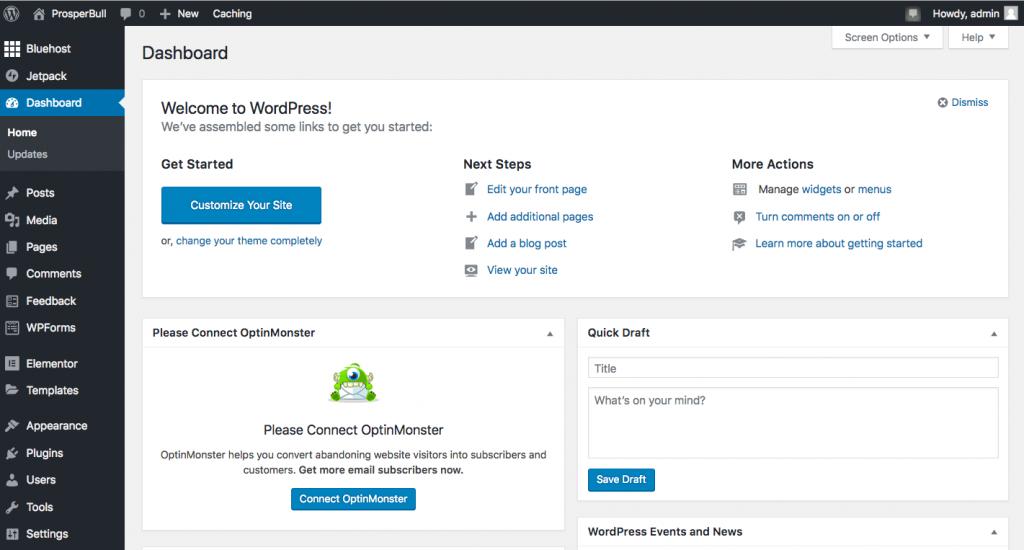 WordPress account dashboard