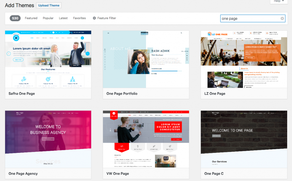 WordPress theme search results for one-page themes
