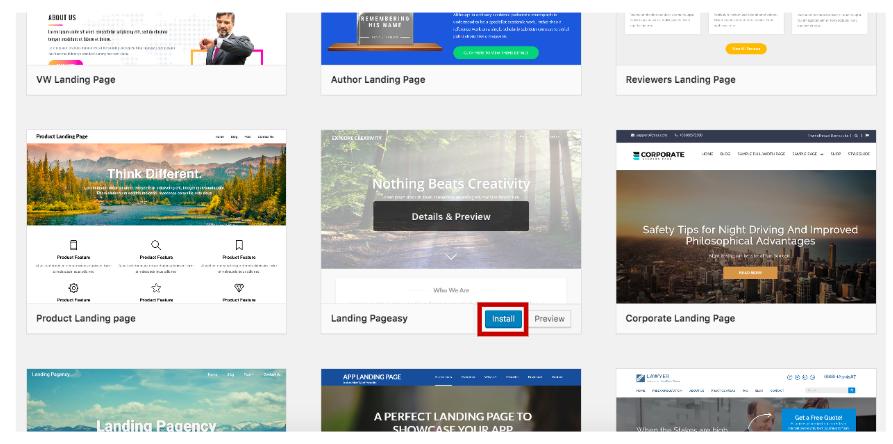 Click Install a WordPress theme