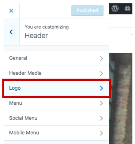 menu location for adding a logo to the wordpress header