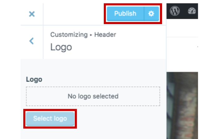 button locations for logo selection, and publishing.