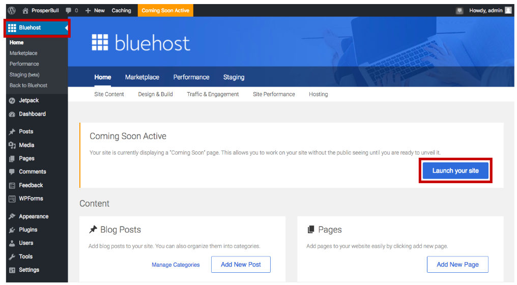 how to launch your one-page wordpress site with Bluehost