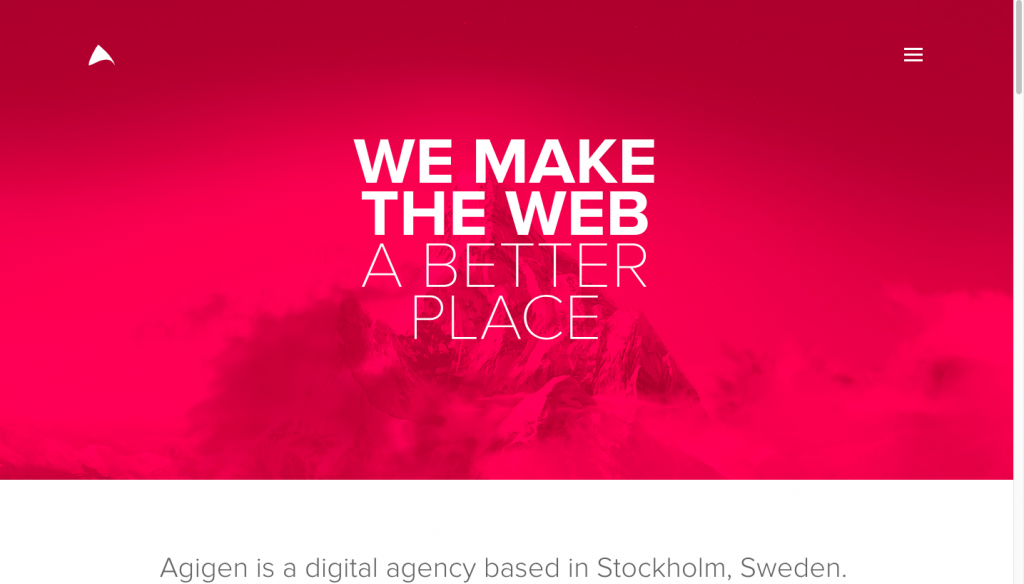 Agigen Agency - one-page website example