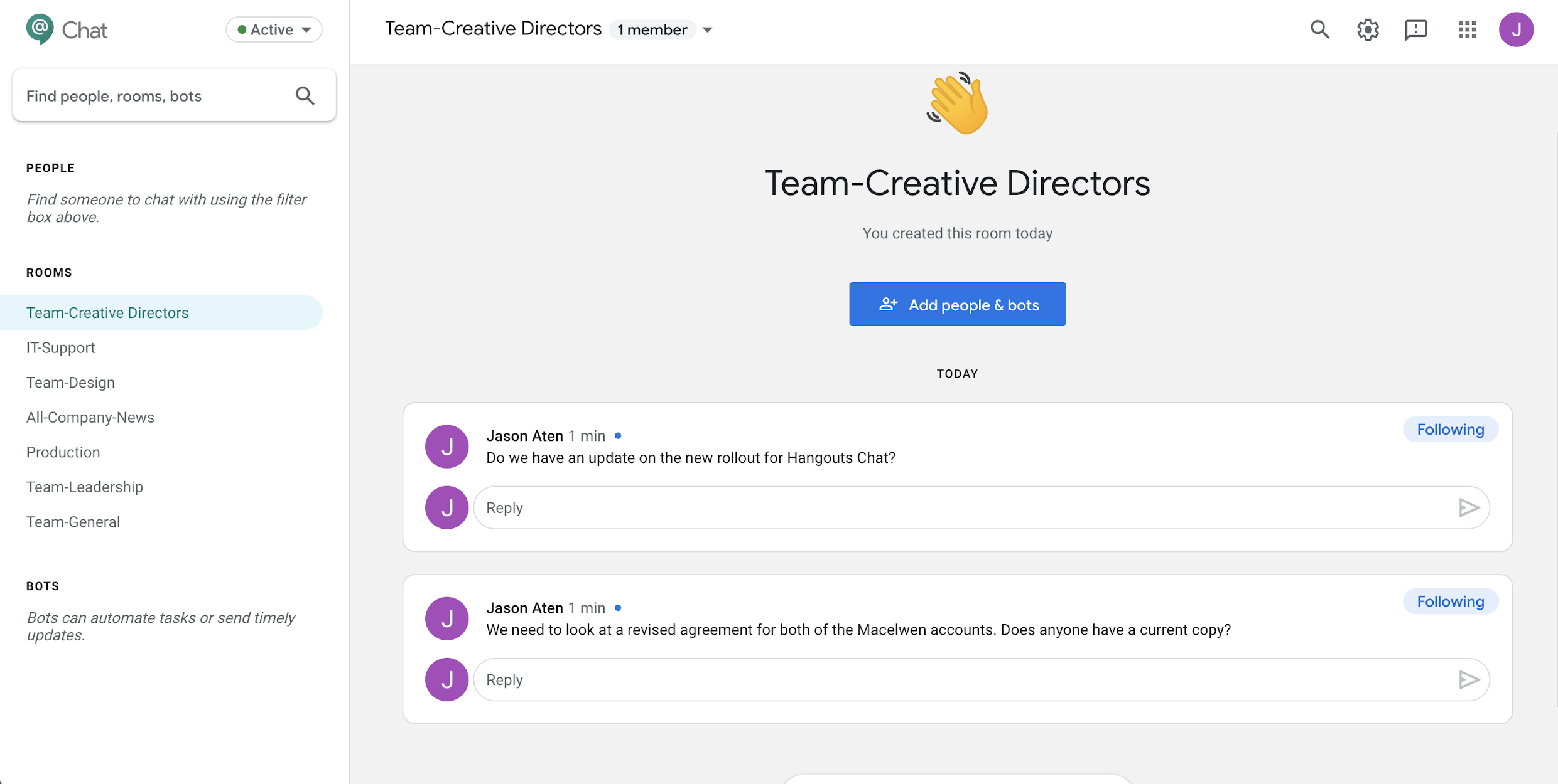 Google Hangouts Chat - slack alternatives
