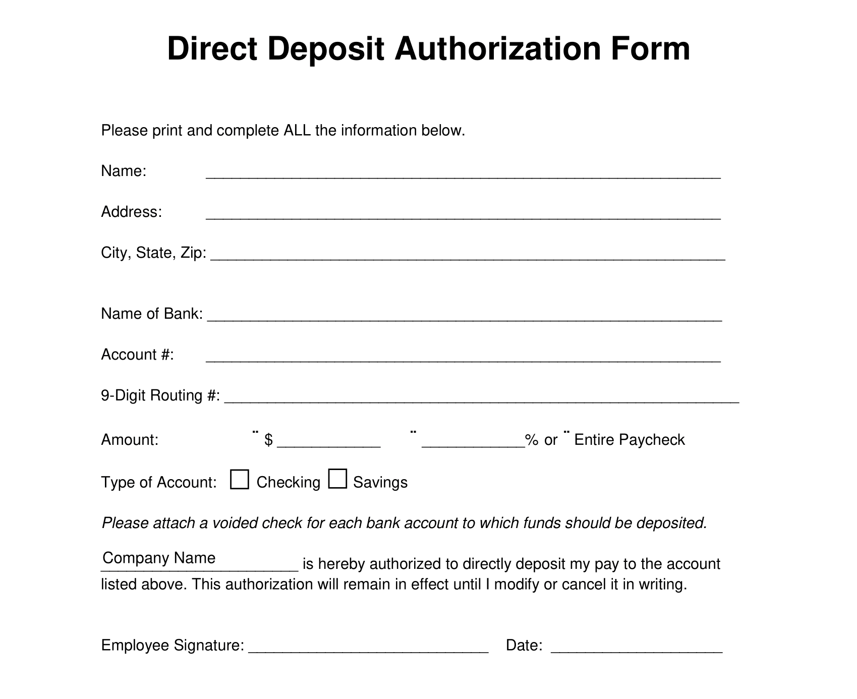example of a direct deposit authorization form