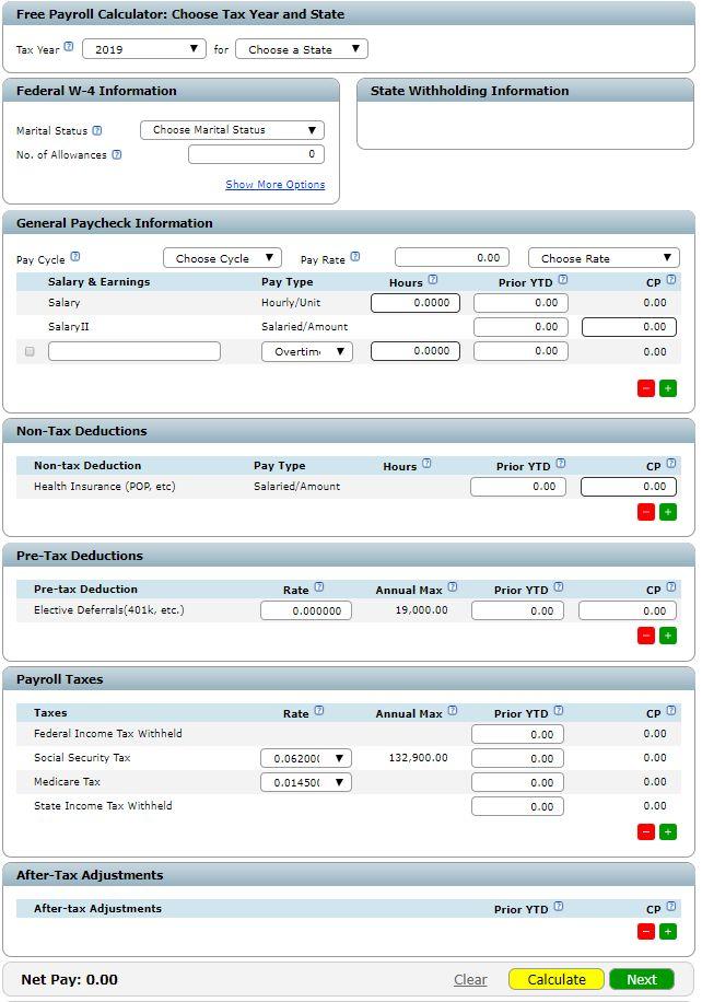 Screenshot of Free Paycheck Calculator