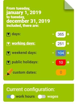 Screenshot of Free Working Days Calendar