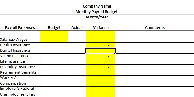 Screenshot of Payroll Budget