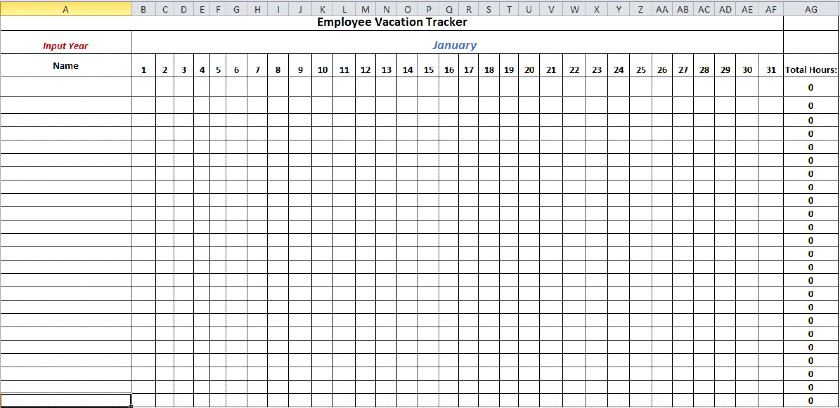 Screenshot of Vacation Tracker