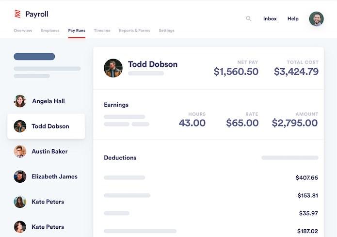 Screenshot of Zenefits Payroll Earnings and Deduction