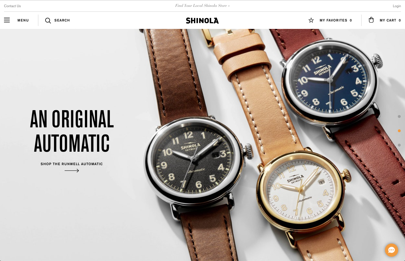 Shinola's homepage with unique selling proposition