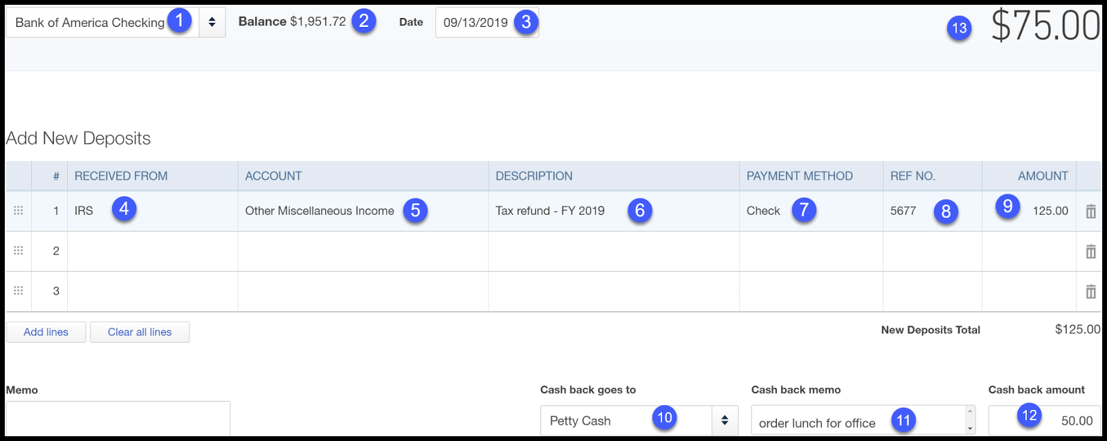 recording deposits in quickbooks