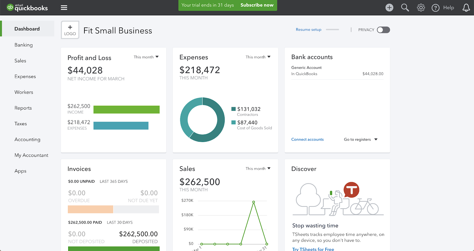 screenshot of the QuickBooks reporting dashboard