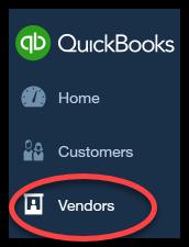 vendors button in quickbooks online