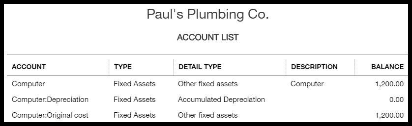 accounts report filtered to show fixed assets