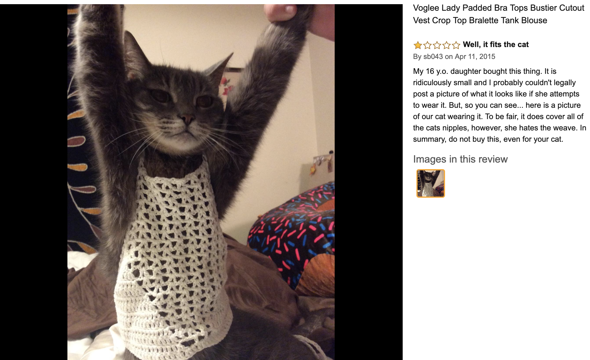 an Amazon review of a women's top that was only big enough to fit a cat