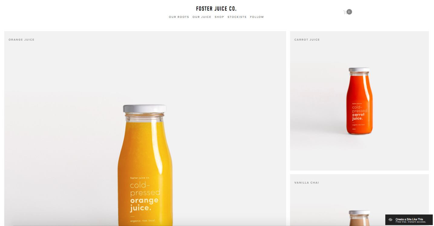 Foster Juice Co - best squarespace templates