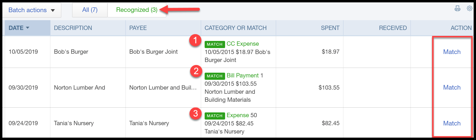 Review Transactions Tab in QuickBooks Online
