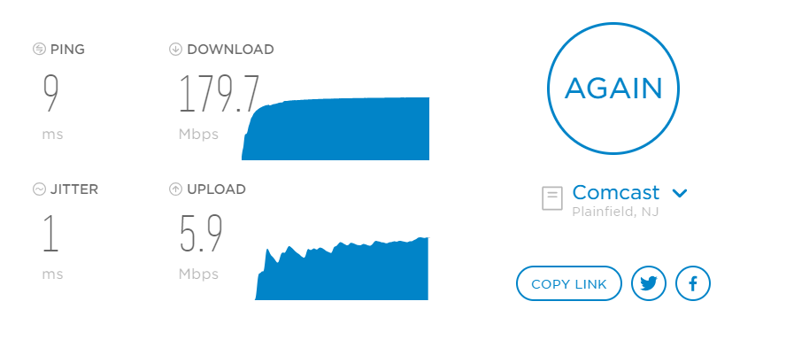 an example of an internet speed test