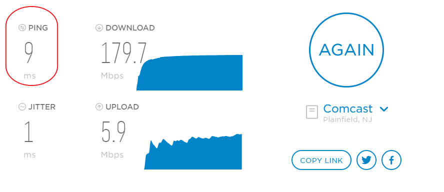 an example of a voip speed test, highlighting the ping speed