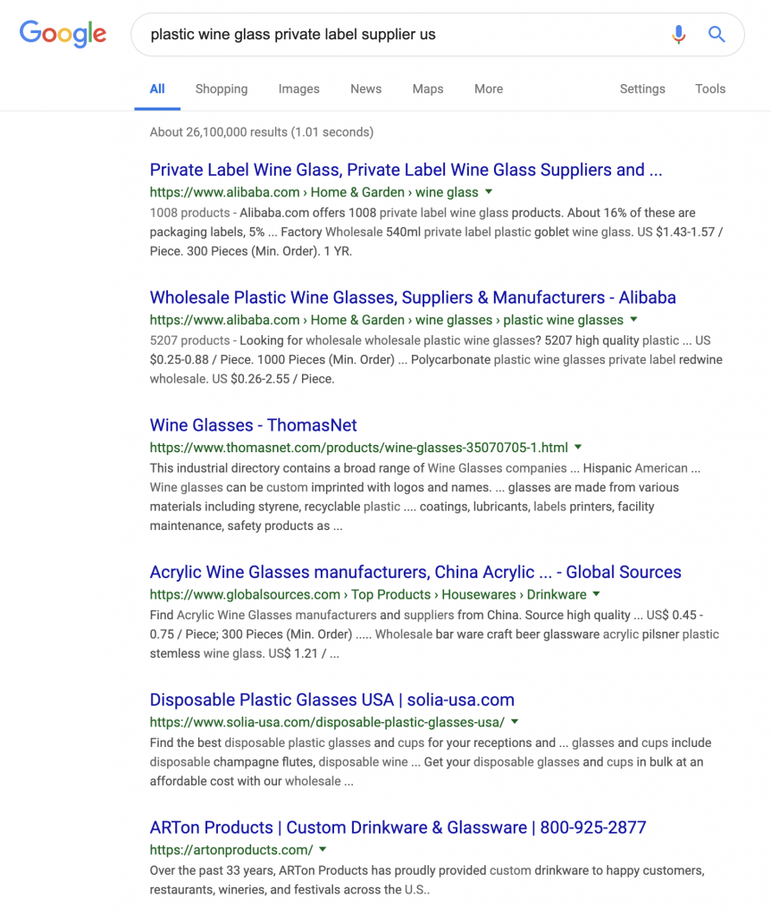 Google search to find private label suppliers