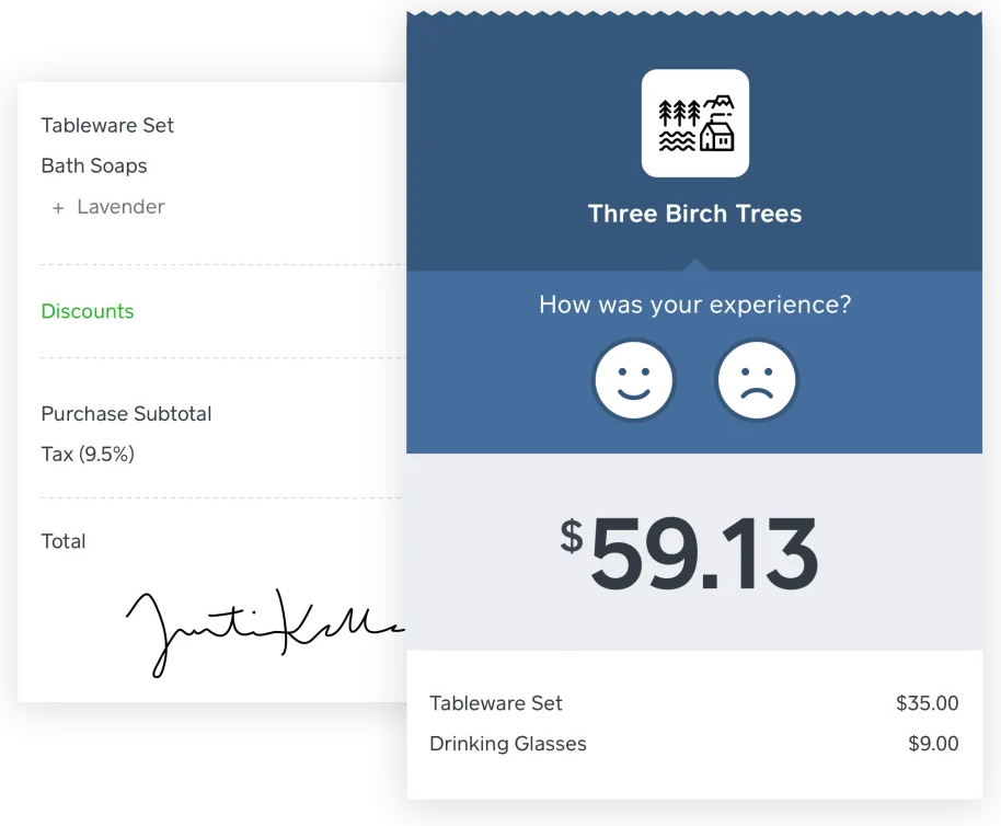 screenshot of Square's customer transaction feedback popup