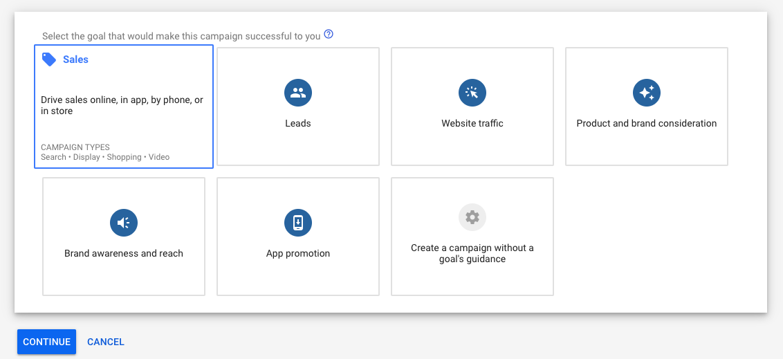 Google Ads Campaign Goal options