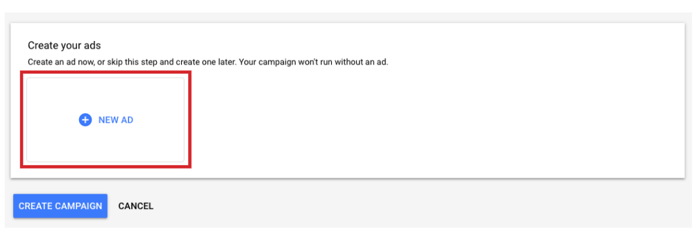 Add a new display ad into a google ads campaign.